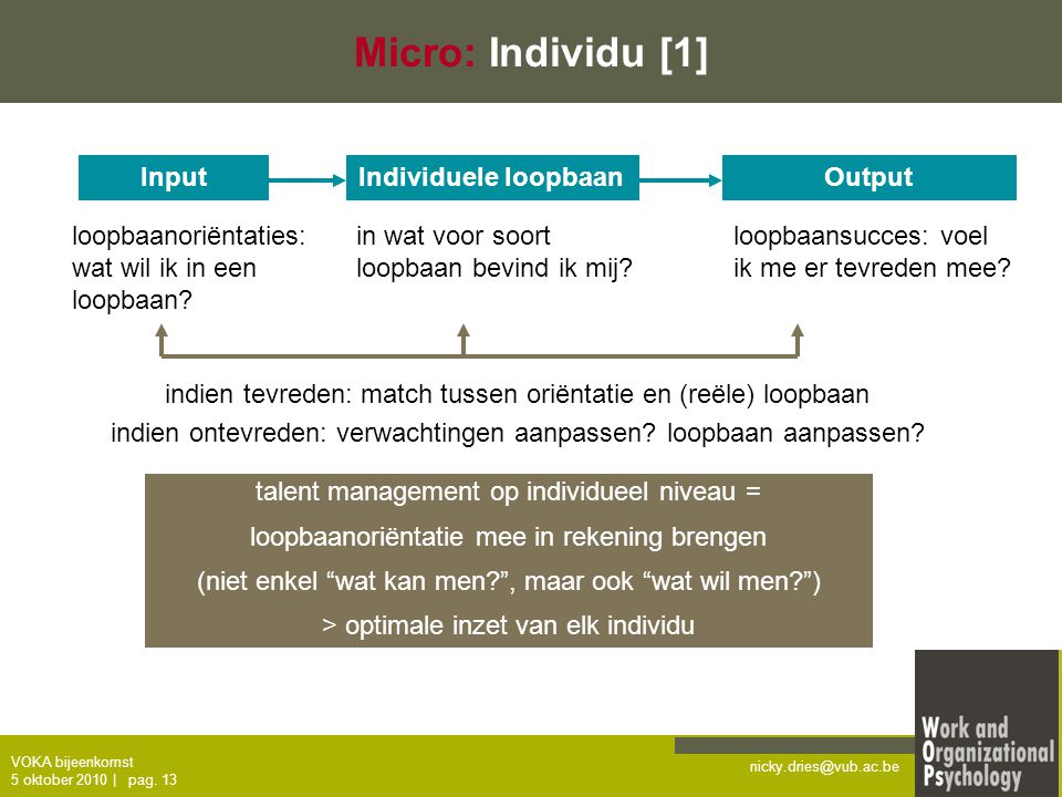 Micro: Individu [1] Input Individuele loopbaan Output